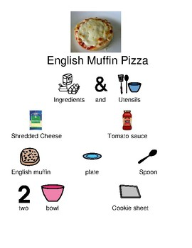 English Muffin Pizza - recipe picture supported text visual supports