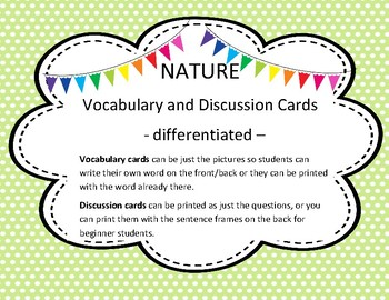 English Nature Vocabulary and Discussion Cards - ESL/ELL Differentiated
