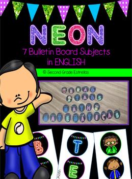 English Neon Bulletin Board Subjects