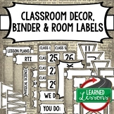 SECONDARY CLASSROOM DECOR, BINDER LABELS, Newspaper Haze