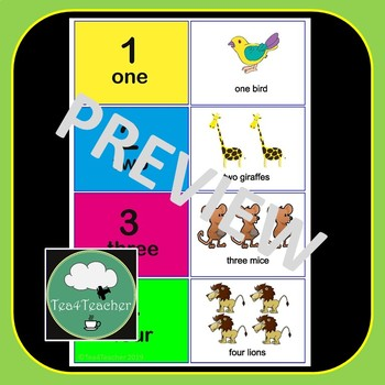 English Number Match Cards - Animals 1-20