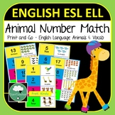 Number Match Cards - ESL ELL Count and Match the Animals Numbers 1-20