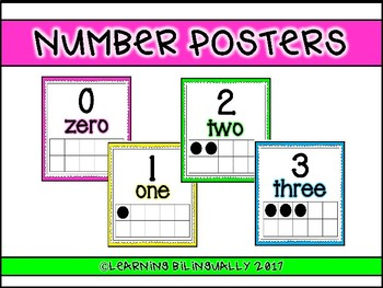 English Number Posters (Smaller Version)
