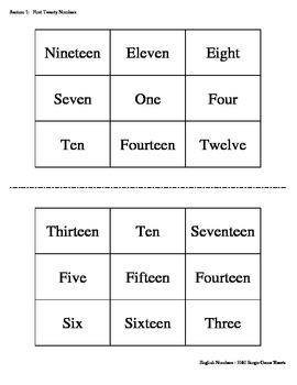 English Numbers Bingo Game (H&I Bingo Game Sheets) - 3 X 3