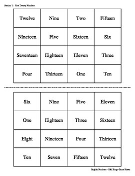 English Numbers Bingo Game (H&I Bingo Game Sheets) - 4 X 4