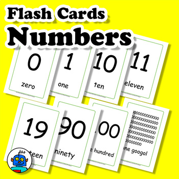 English Numbers Flash Cards 1-10, 11-20, 30...90, 100, 1000, googol