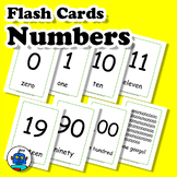 English Numbers Flash Cards 1-10, 11-20, 30...90, 100, 100