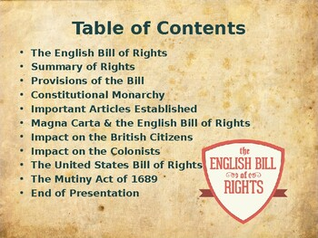 English Origins of US Government - The English Bill of Rights