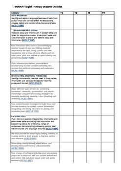 English Outcomes Term checklist - Year 4