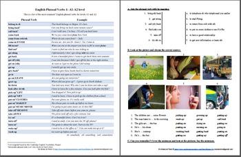ESL/English: Phrasal verbs 1 (level A1-A2)