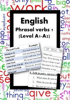 ESL/English: Phrasal verbs 1 (level A1-A2)