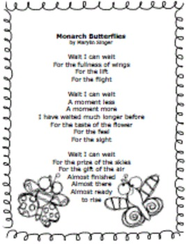 """Poetry English""""Monarch Butterfly"""" Imagery, Senses, Writing Opportunity Activites"""