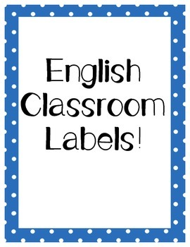 English Polka Dot Classroom Labels