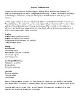 English Portfolio Self-Evaluation