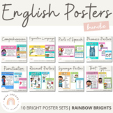 English Posters Bundle {Rainbow Theme} Reading and Writing Strategies
