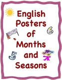 English Posters or Cards of the Months and the Four Seasons