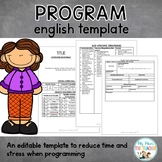 Editable English Program Template - 7-10