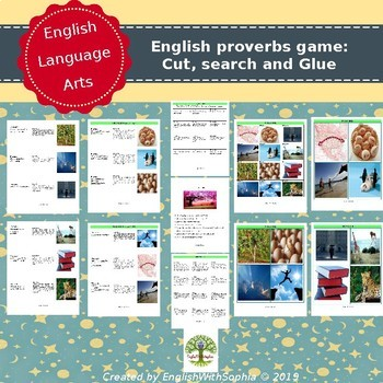 English Proverbs Game: Cut, Search and Glue