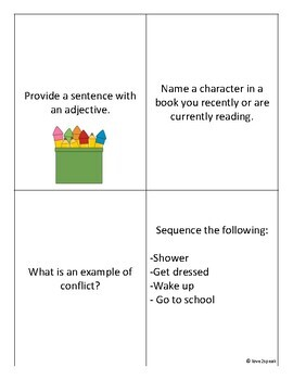 English Question Cards - Provide Definitions and Examples