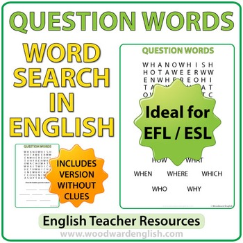English Question Words - ESL Word Search