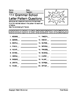 English Question Worksheets Letter Patterns