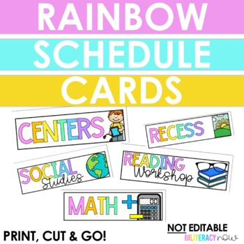 English Rainbow Schedule Cards! 19 cards!