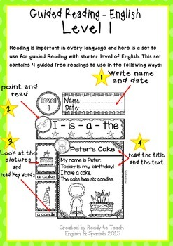 English Reading - Guided Reading Passages - Level 1 FREE