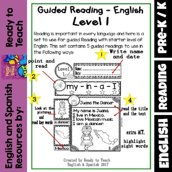 English Reading - Mexico (5 de Mayo)  - Guided  Reading Passages - Level 1
