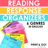 English Reading Response Organizers by Genre: Fiction, NF, Poetry, Drama, Lit NF