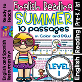 English Reading - Summer  - 10 Guided Reading Passages - Level 1