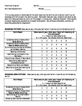 English/Reading/Writing/Grammar Self-Assessment