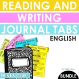 English Reading and Writing Genre Tabs for Journals BUNDLE