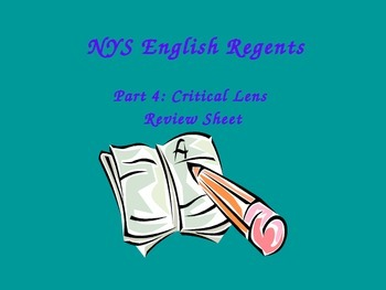 NYS English Regents Critical Lens (Quote Analysis with Evidence) Review Sheet