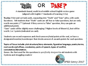 English Remediation Truth Or Dare Task Card Game Sol 7th Grade