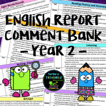 English Report Comment Bank - Year 2