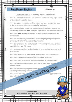 English  - Report Writing Comments - Rec Found - Australian Curriculum