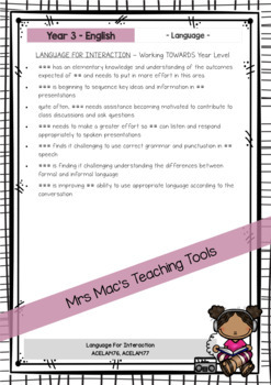 English - Australian Curriculum - Report Writing - Year 3