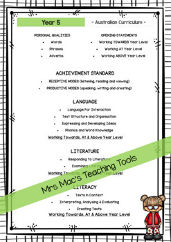 English  - Report Writing Comments - Year 5 - Australian Curriculum