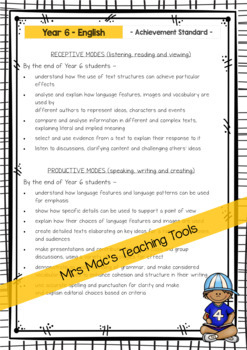 English  - Report Writing Comments - Year 6 - Australian Curriculum