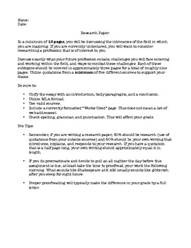 Research Paper Prompt with Writing Tips!
