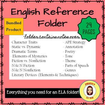 English Reference Folder- Notes for Secondary ELA