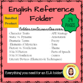 English Reference Folder Bundle- Back to School Notes for Secondary ELA