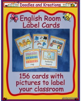 English Room Label Cards