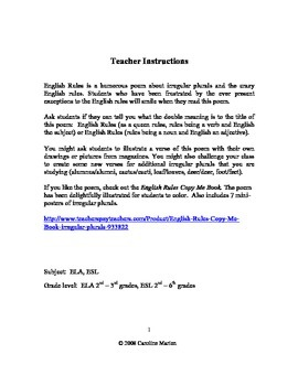 English Rules (poem about irregular plurals)