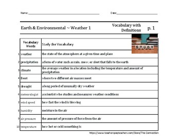 Science (English): Earth & Environmental ~ Weather 1