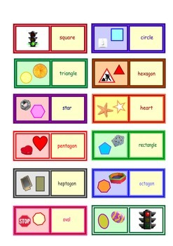 English Shapes  Loop Cards   . Small size cards  .One  A4 page .