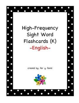 English Sight Word Flash Cards K