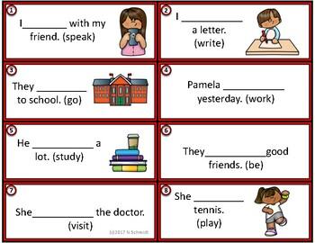 English Simple Past Task Cards: 24 Irregular + Regular Verbs