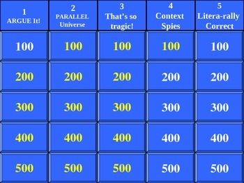 English Skill Jeopardy Game - Midterm Review
