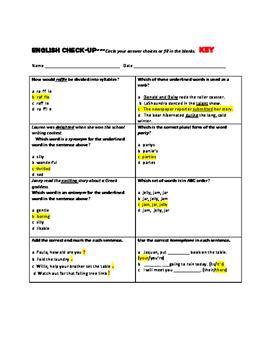 English Skills Check-up for Third Grade